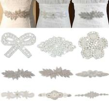 DIY Beaded Motif Iron On Rhinestone Applique Crystal Wedding Dress Sash Craft