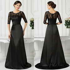 Price crash~ Ladies Lace Satin Formal Ball Gown Cocktail Evening Prom Gown Dress