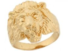 10k or 14k Solid Yellow Gold Lion Head Fancy Mens Ring
