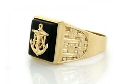 10k or 14k Solid Yellow Gold Onyx Cross Anchor Mens Ring