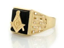 10k or 14k Solid Yellow Gold Onyx Masonic Mens Ring Jewelry