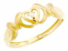 10k / 14k Solid Yellow Gold 0.015cttw Diamond Mom Heart Ring