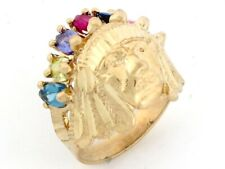 10k / 14k Gold 7 Stone CZ American Indian Small Mens Ring