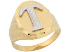 10k or 14k Two Tone Real Gold Large Letter T Initial Mens Ring