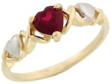 10k or 14k Two-Tone Gold Heart Shape Simulated Garnet January Birthstone Ring