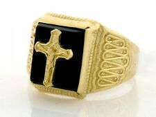 10k / 14k Solid Gold Mens Onyx Crucifix Cross Jesus Ring