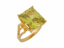 10k / 14k Yellow Gold Lime Green CZ Open Heart Band Ladies Ring
