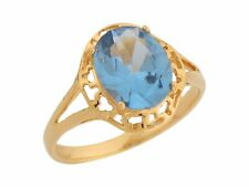 10k / 14k Yellow Gold Simulated Aquamarine Dazzling March Birthstone Ring