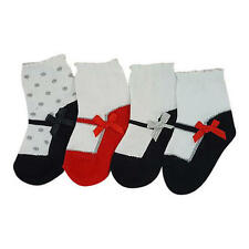 Koala Kids Girls 4 Pack Assorted Color Mary Jane Socks with Bow Detail