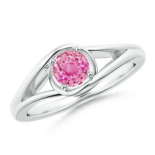 Natural Round Pink Sapphire Solitaire Ring 14k White Yellow Rose Gold / Silver