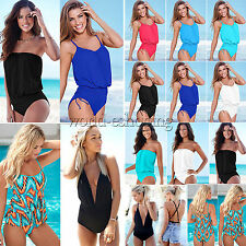 US4-16 Plus Size Women One Piece Monokini Bikini Tankini Swimsuit Beachwear Suit