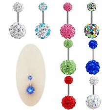 Rhinestone Barbell Navel Ring Belly Button Piercing Body Jewelry Crystal Ball