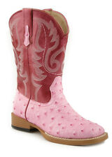 Roper Kids Girls Square Toe Pink Faux Ostrich Leather Comfort Cowboy Boots