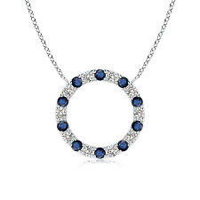 "Round Blue Sapphire Diamond Open Circle Pendant Necklace 14k Gold 18"" Chain"