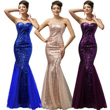 Long Formal Evening Prom Gown Sequins Bling Sexy Mermaid Party Bridesmaid Dress