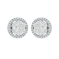 1.34 ct Round Cut D/VVS1 Solid Gold Flower Stud Earrings For Women's