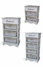 NEW SOLID 2 3 4 WICKER DRAWER BASKET & 1 WOODEN LID CABINET STORAGE CHEST UNIT