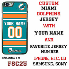 Custom MIAMI DOLPHINS Phone Case Cover w Your Name & Jersey Number IPhone