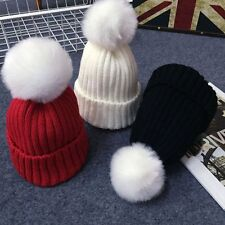 Warmer Soft Baby Kids Children Pompom Ball Cap Crochet Knitted Hat Wool Fur