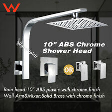"Chrome 10"" Large Square Shower Head Rose Set Wall Gooseneck Arm Mixer Twin Tap"