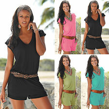 Womens Ladies Holiday Jumpsuit V Neck Casual Beach Summer Shorts Romper Playsuit