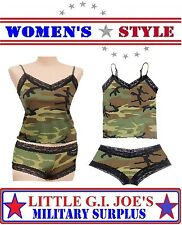 Women's Camouflage Lace Trimmed Camisole Top & Lace Trimmed Boy Shorts Lounging