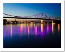 Night Landscape With A Bridge In The City Of Kyiv Art Print Home Decor Wall  - 2