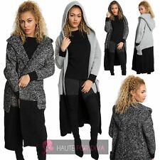 NEW LADIES KNITTED CHUNKY OPEN FRONT POCKETS TWO TONE LONGLINE CARDIGAN UK 8-14