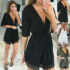 Sexy Womens Mini Playsuit V Neck Summer Beach Party Shorts Jumpsuit Romper Dress