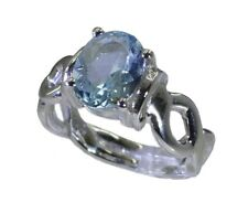 Blue Topaz 925 sterling silver Ring L-1.2in bewitching Blue exporter AU K,M,O,