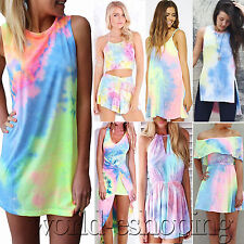 Sexy Womens Tie-Dye Dress Casual Clubwear Party Rainbow Dresses Rompers Playsuit