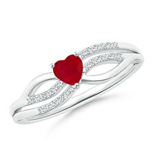 Solitaire Ruby Heart Promise Ring with Diamond Accents 14k White Gold Size 6
