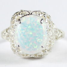 Created White Opal, 925 Sterling Silver Ring, SR009-Handmade