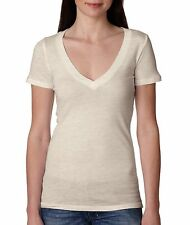 Next Level Apparel 3540 Ladies Junior Fit Deep V Oatmeal T-Shirt S-2XL