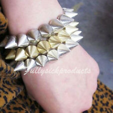 Punk Rock Fashion Silvery Golden Spike Stud Stretch Gothic Bangle Bracelet Gift