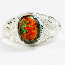 Created Black Opal, 925 Sterling Silver Ring-Handmade, SR083