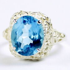 Swiss Blue Topaz, 925 Sterling Silver Ring, SR009-Handmade