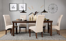 Fenchurch Dark Wood Extending Dining Table & 4 6 8 Stamford Chairs Set (Oatmeal)