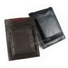 Mens Genuine Leather Magnetic Money Clip w/ ID Credit Card Holder Pocket #MC45