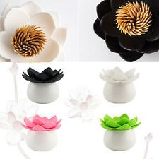Lotus Flowers Cotton swab Box lotus Cotton Bud Holder Base Room table Decor NEW