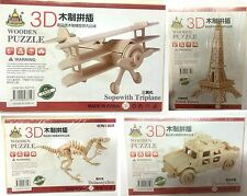 New Puzzel Wooden 3D Puzzle Jigsaw Model Kit Kid Toy Car Plane Effiel  Dinosaur