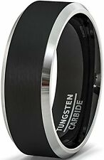 Mens Wedding Band 8mm Black Tungsten Rings Brushed Matte Finish Two Tone New