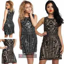 NEW WOMENS PATTERNED DOUBLE LAYERD ROUND NECK SLEEVELESS PARTY MINI DRESS
