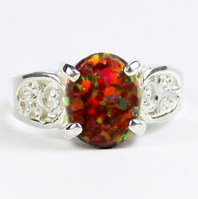 Created Red Brown Opal, 925 Sterling Silver Ring, SR369-Handmade