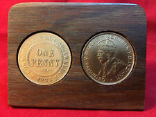 100th wedding anniversary Jarrah Plaque w/ 1917 pennies. Other years available