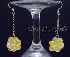 SALE 18-19mm Yellow 6mm crystal handwork Weaving Round Ball dangle Earring-489