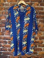 MAMBO LOUD BLUE SHIRT FISH n CHIPS S/S Size S Button Up Shirt w/wood buttons GUC