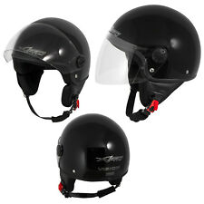 Motorcycle Open Face Classic Jet Helmet  Scooter Clear Visor Black