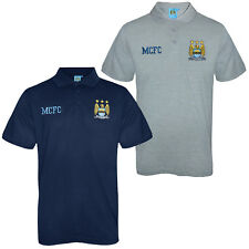 Manchester City FC Official Soccer Gift Mens Crest Polo Shirt