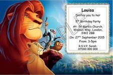 Lion King Personalised Party Invitations / Thank You Cards A6 Glossy + Env